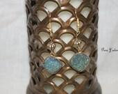 Black Iridescent Druzy Dangle Earrings