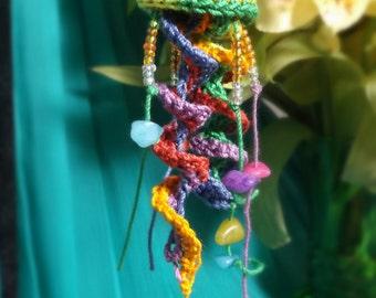 Crochet Lace Jellyfish Earrings - Rainbow