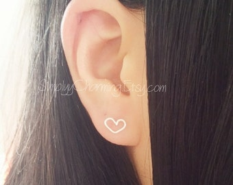 Tiny Heart Wire Lobe Earring - Sterling Silver/14K Gold Filled (A Pair)