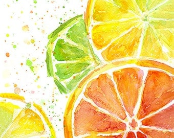 Citrus Fruit Watercolor, Art Print, Food Painting, Lime, Oranges, Lemons, Kitchen Decor, Juicy, Colorful Painting, Green Yellow Orange