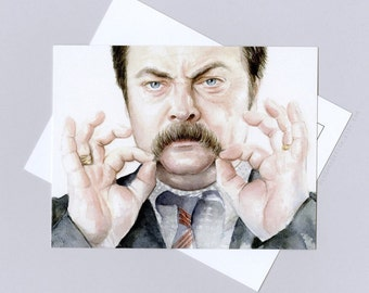 Ron Swanson Card Postcard, funny card, watercolor painting, Parks and Rec Art