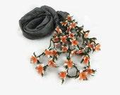 Spring Summer Charcoal Gray Silk Scarflette  with needle crochet Flower Oya Edges , Gray Silk Foulard, Womens  Scarflette,