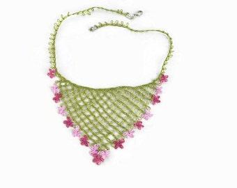 Pink Oya Flowers Crochet Bib Necklace , Turkish Oya Jewelry, Delicate and Lightweight, Unique Necklace,Hippie, Boho Style