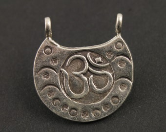 Fine Silver (.999) Thai Hill Tribe Handmade Double Bail Pendant w/ Om Carving and Tribal Detail, 1 Piece, Sold Individually (HT2013)