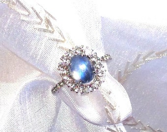 Rainbow Moonstone Halo Ring / Engagement Ring Solitaire in White Topaz Halo Setting