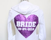 Purple Wedding Bride Hoodie with Est Date. Wifey hoodie. Mrs Hoodie. Future Bride Hoodie. Just Married Hoodie. Soon to be Bride Hoodies