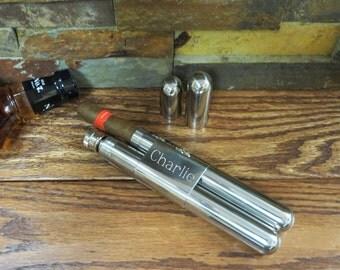 Personalized Cigar Flask Tube - Groom- Groomsmen - Best Man