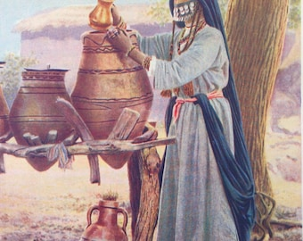 1920s EGYPT MIDDLE EASTERN Woman Doublesided Lithograph Print