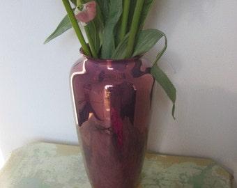 Antique Hispano Moresque Purple Luster Porcelain Vase With Original Paper Tag
