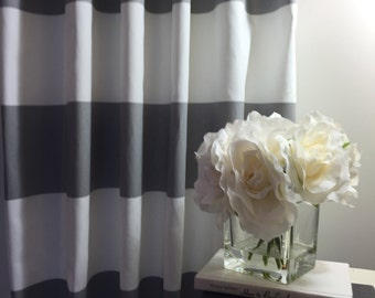 "CURTAIN DRAPERIES -Two panels Wide Stripe Custom Curtains Cabana Storm Darker Gray and white background  50"" wide X up to 108"" Long"