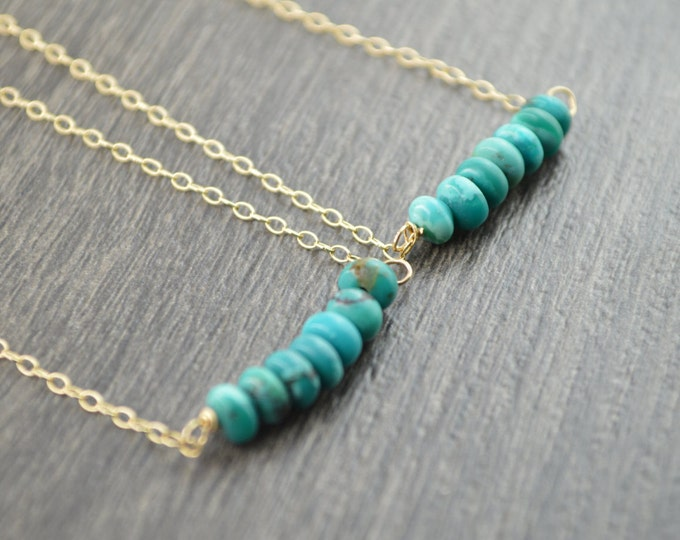 Turquoise Bar Necklace, Gold Turquoise Necklace, Blue Green Gemstone Necklace, Modern Gold Necklace, Modern Jewelry, Birthstone Jewelry