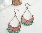 Rustic Copper Earrings Hippie Boho Earrings Gypsy Boho Earrings Boho Dangle Earrings Crescent Earrings Crescent Moon Earrings Handmade