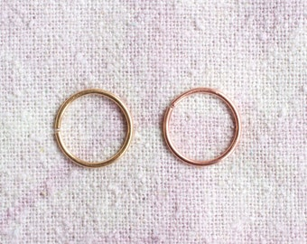 SALE > two solid 14k rose or yellow gold hoops ((recycled 20g 9mm)) seamless + catchless // nose + ear + cartilage // woodsy cosmic bohemian