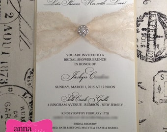 LACE and RHINESTONE BROOCH Invitation for Weddings, Showers, Engagements, and more.