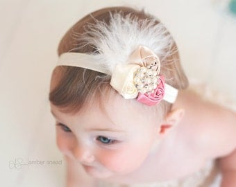 Vintage Baby Headband, Dusty pink, brown and Ivory Feather Headband, infant Headband, Newborn headband, baby hair bow,Newborn photo prop
