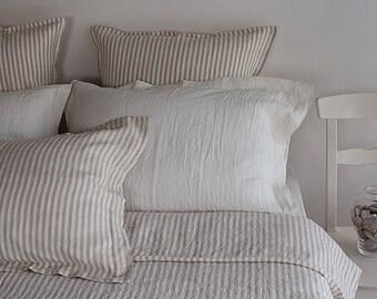 King striped set - linen king set - king duvet set - striped linen bedding - striped duvet set - striped bed linen - king bedding USA