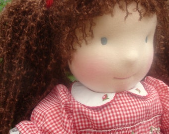 """Waldorf Doll, Smocked Red Gingham Dress, 17"""" tall girl doll, Handcrafted from Natural Materials, Free Shipping, waldorf inspired"""