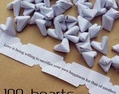 100 paper origami heart love quotes - wedding - simple decor - Free worldwide shipping