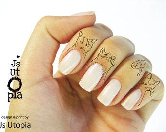 Cat Water Transfer Finger Tattoo
