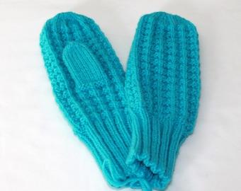Fancy Knit MIttens - Aqua Mittens - Winter Mittens - Womens Medium