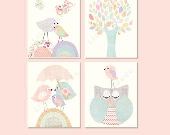 Baby Girl Nursery Prints, Nursery Art, French Nursery,Pastel Nursery Prints, SET OF 4 PRINTS, Birds,Tree, Owl, Shabby Chic, Blue, Lavender