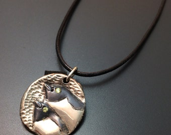 Penguin necklace Medallion necklace Peridot jewelry