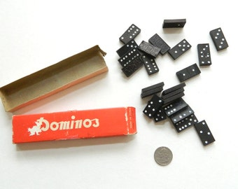 Miniature Domino Set - 23 small dominoes, Made in Japan