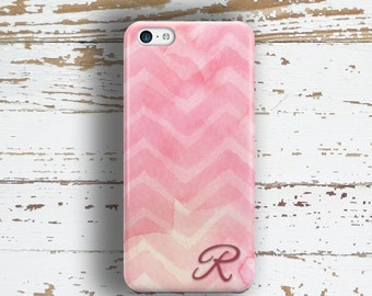 Personalized gifts for women, Monogram Iphone 6 case, Pretty Iphone 5c case, Chevron iPhone 5s case, Fashion iPhone 6s case, Pink(1354)