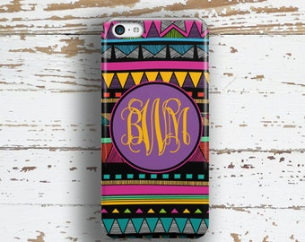 USA seller, Tribal Iphone case, Aztec Iphone 5c case, Black yellow purple, Teen phone case, Monogram Iphone 6 case, Gift for teens (9888)