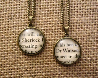 Sherlock and Watson Friendship Necklaces - Book Page Necklace