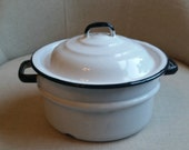 White Enamel Pot w/ Black Trim