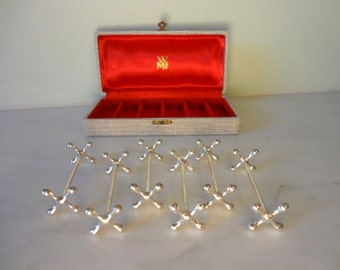 WMF -  Vintage German Knife Rests Silver Plate stamped with WMF GERMANY- Complete Boxed Set - Old Elegance for your Table  - Great Condition