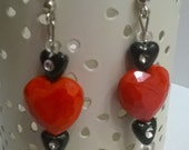 Tracy Earrings - Beaded Dangle Earrings in Red and Black with Hearts and a White Rabbit Charms