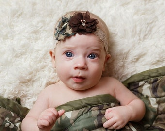 Camo headband, Army Headband, Baby Camo Headband, Shabby Headband Camo and Brown, Hunting Baby Headband, Camoflague baby headband