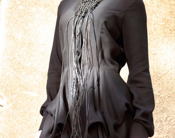 New Collection SS/15 Black  Loose  Shirt / Asymmetric shirt / Buttoned Party Tunic by AAKASHA A11199