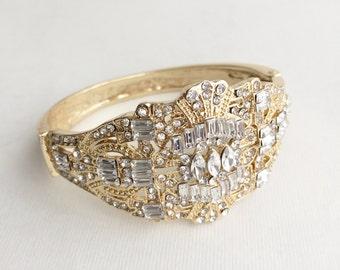 SLIGHT SECOND,art deco bracelet gold,wedding bracelet,18k gold bracelet,art deco jewelry,art deco bridal bracelet,cuff,gold, GATSBY