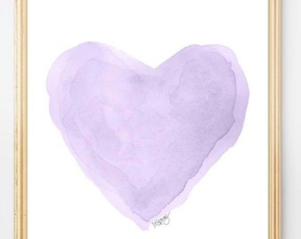 Lavender Nursery, Purple Nursery Decor, Lilac Nursery Art, Watercolor Heart Art Print 8x10, Purple Girls Decor, Lavender Wall Art