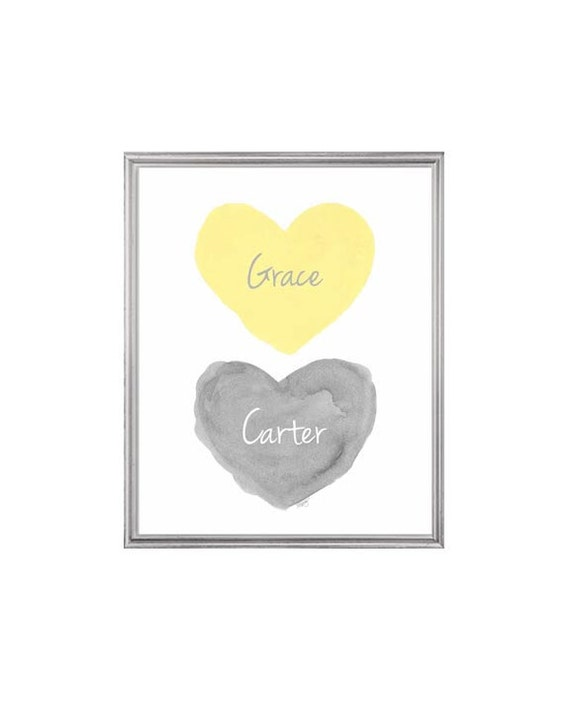 Gray and Yellow children's Print with Names, 8x10 Watercolor Hearts