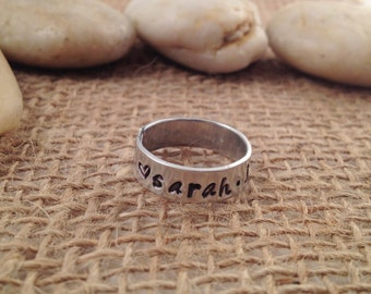 Personalized Hand Stamped Wrap Ring with Names and Hearts- Aluminum