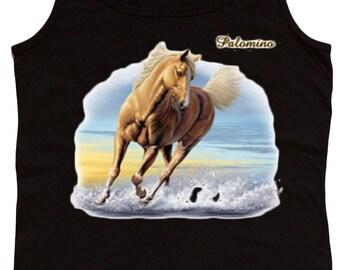 Ladies black tank top / Palomino Horse