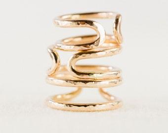 Kau'i ring - gold rings, cuff ring, stacking ring, stacking gold ring, knuckle ring, thick ring, gold filled ring, gold knuckle ring, hawaii