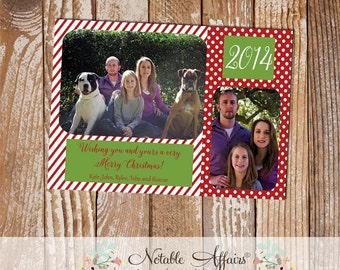 Green and Red Stripes Polka Dots Wish you a Merry Christmas Photo Card - 2 photo Christmas card