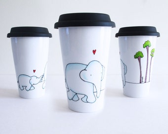 Travel Mug with Blue Mom and baby Elephants, tall trees, Eco-friendly Cup, Thermal Double-wall Porcelain Hand painted Travel Mug Custom mug