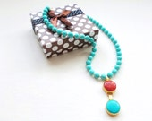 Coral and Turquoise Necklace, Golden and turquoise Naturel Ethnic Jewelry Necklace,