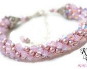 Flower Girl Bracelet, Flower Girl Gift, Kumihimo Bracelet, Wedding Jewelry, Little Girl Bracelet, Little Girl Gift, Pearl and Crystal