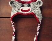 crochet sock monkey trapper hat (0-3 months)