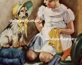 "Vintage Print ""MUST YOU?"" 1937 Little Girl and Dog in Bonnet Print, RestoredArt a ""Rest of the Story"" print"