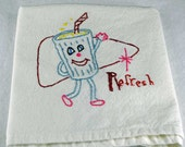 "Hand Embroidered Kitchen Towel, Great Kitchen Design, Kitchen Tea Towel,  ""Refresh"""