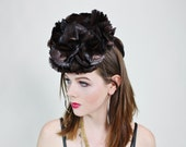 1940s Pinup Brown Feather Tilt Hat Fascinator