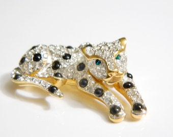 10 K Rhinestone Leopard Cat Brooch Pin Jewelry Collectible Vintage Mystery Triangle Hallmark Sparkling Black Clear Glass Tested 10 K Gold